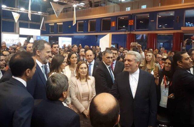 بازدید مشترک پادشاه، ملکه و رئیس کنگره نمایندگان اسپانیا از غرفه ایران در نمایشگاه فیتور